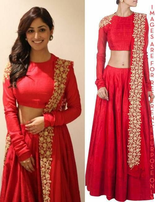 Yami Gautam Beautiful in Red plain Lehenga This set features a red silk lehenga along with red blouse with gold dori work on the shoulder. It also features red net dupatta with dori work along border. COMPOSITION: raw silk, net, cotton, shantoon . CARE: Dryclean only. SIZE: S|M|L|XL|XXL
