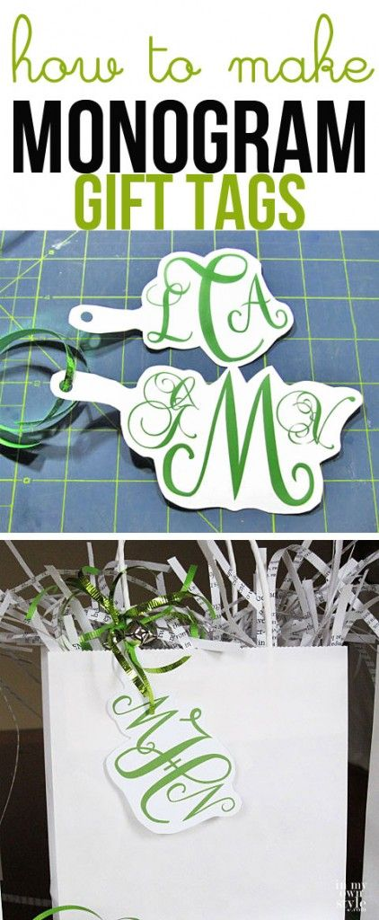 Christmas gift wrap idea How to make monogram gift tags using your computer. Holiday gift wrapping idea. | In My Own Style