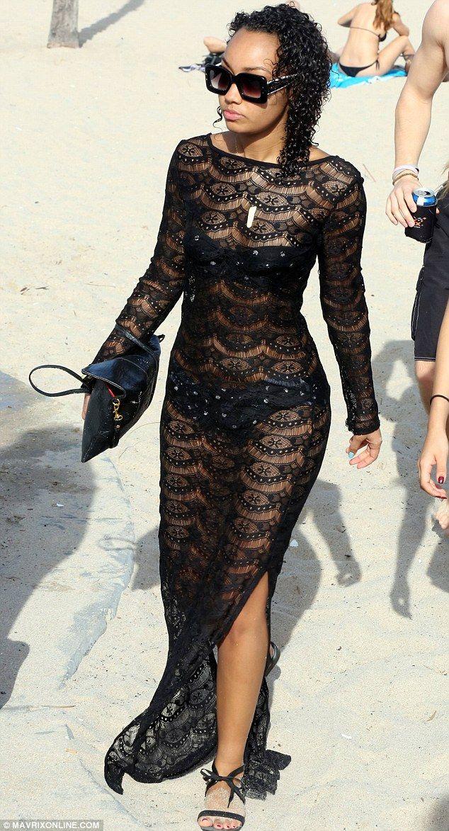 Leigh-Anne Pinnock.. ASOS Black lace maxi beach dress..