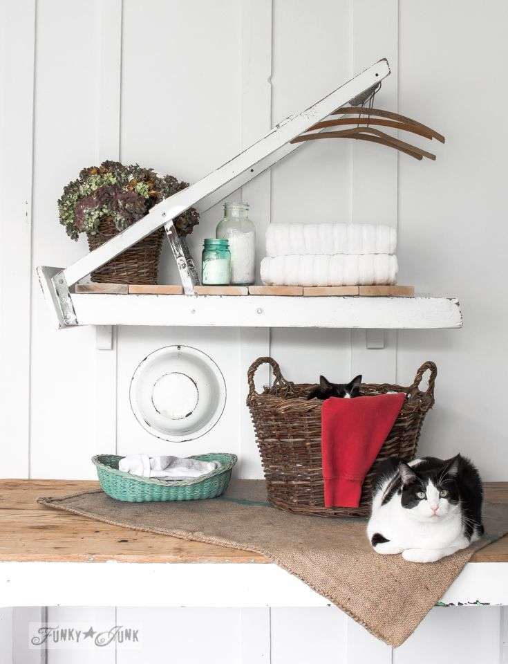 What does a rickety ladder and two cute cats have in common? They landed in a magazine! A ladder laundry room shelf for Country Woman Magazine to be exact!  #bHomeApp