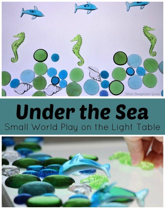 Preschool Under The Sea Small World Activity on the Light Table
