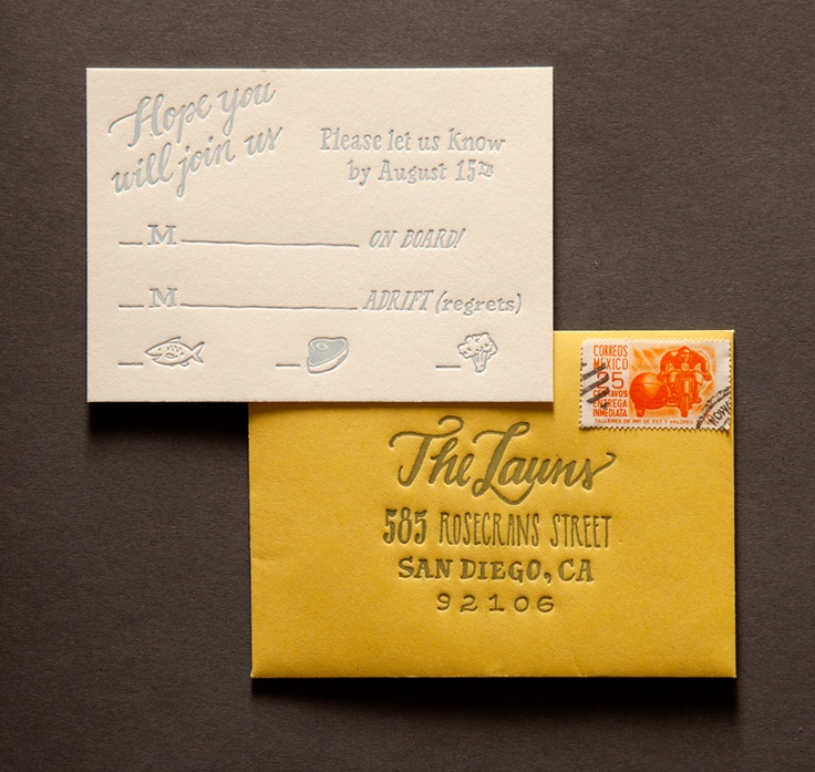 135 best letterpress images on pinterest weddings events and graphics nautical san diego wedding invitation response card in cloud ink on ecru cotton paper with mustard reheart Choice Image