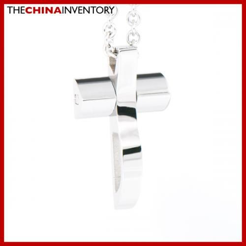 STAINLESS STEEL POLISHED CROSS PENDANT NECKLACE P1620