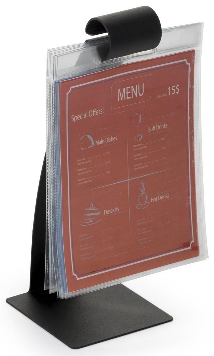 """10.5"""" Flip Menu Holder for Tabletop, 10 Vinyl Sleeves, Stainless Steel - Black"""