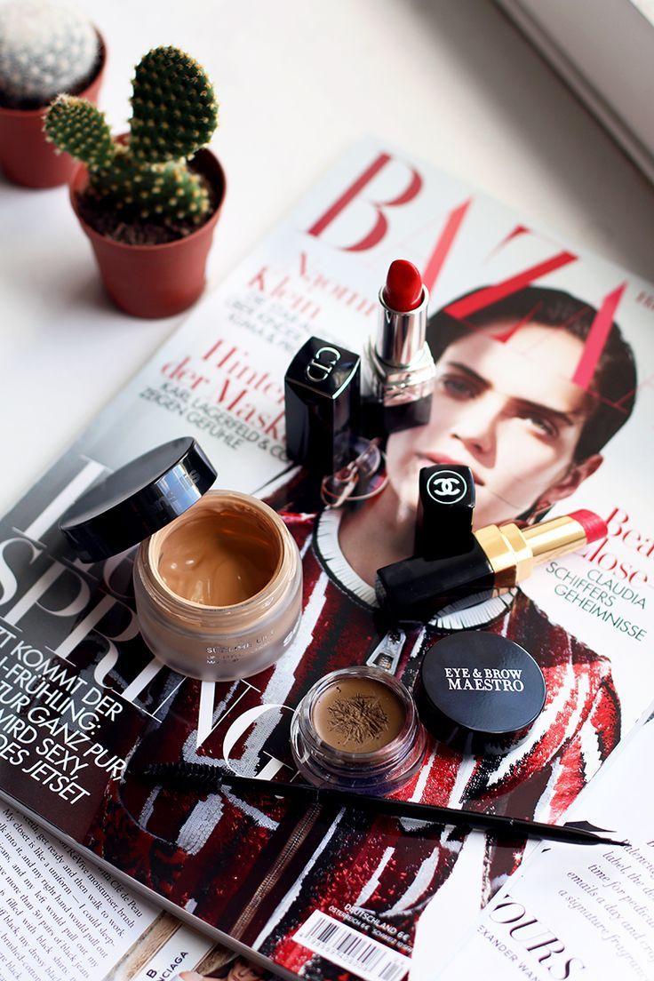New High-end Beauty Favourites, For Lips Brows and Face, Dior Lipstick Nr.844 Trafalgar, Chanel Lipstick Nr.97 Désinvolte, Giorgio Armani Eye & Brow Maestro Nr.04 Ambre, Sensilis Lift Lifting Effect Cream Make Up Nr.03 Noix