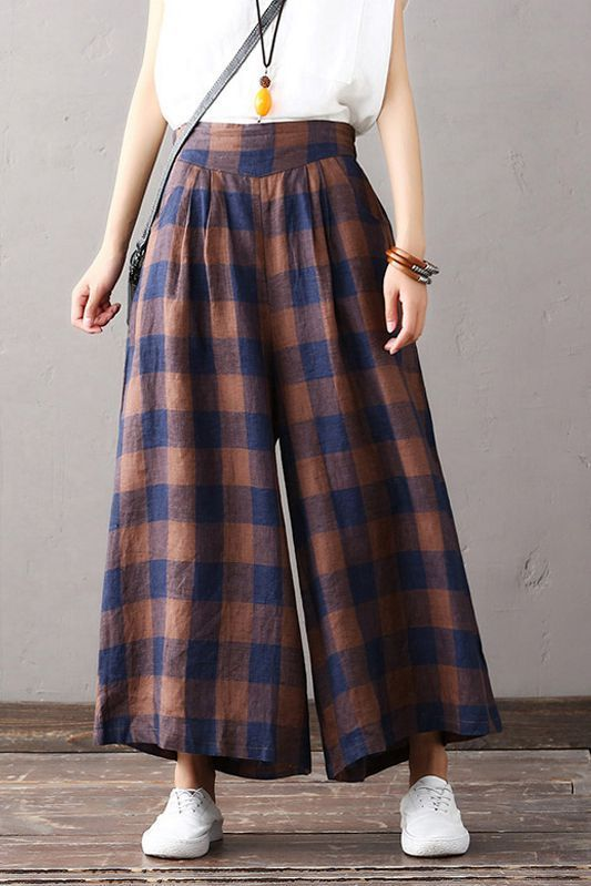 Loose Plaid Cotton Linen Trousers Women Wide Leg P…