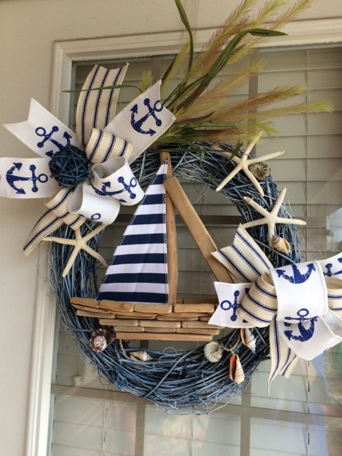 Sailboat Wreath, Nautical Wreath, Beach Wreath, Anchor Wreath, Spring Wreath, Summer Wreath
