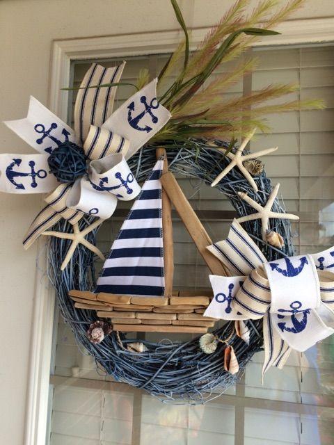 Sailboat Wreath, Nautical Wreath, Beach Wreath, Anchor Wreath, Spring Wreath, Summer Wreath