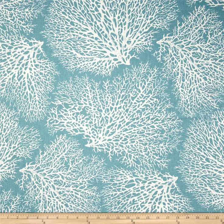Magnolia Home Fashions Ariel Coral Ocean from @fabricdotcom  Screen printed on a cotton this medium weight fabric is very versatile and perfect for window treatments (draperies, valances, curtains, and swags), duvet covers, pillow shams, accent pillows, tote bags, aprons, slipcovers and upholstery. Colors include ivory and blue.