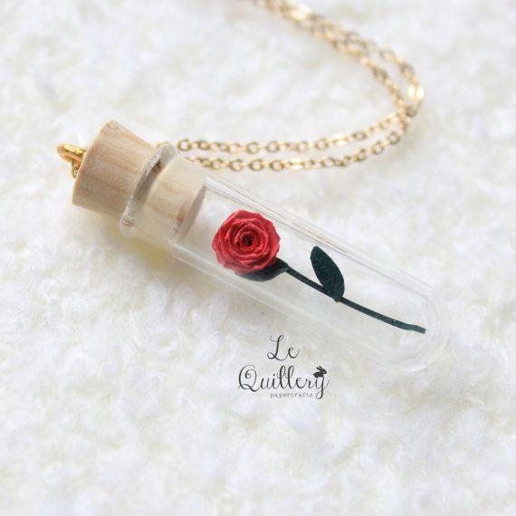 Handmade Paper Terrarium Jewelry - Red Rose in Glass Vial Necklace - Romantic Valentine's Day or First Anniversary Gift