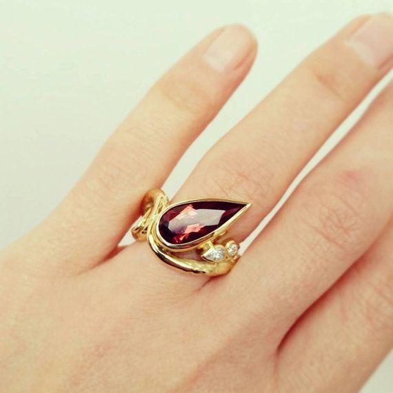Pink Tourmaline and diamond 18ct yellow gold by franbarkerdesign