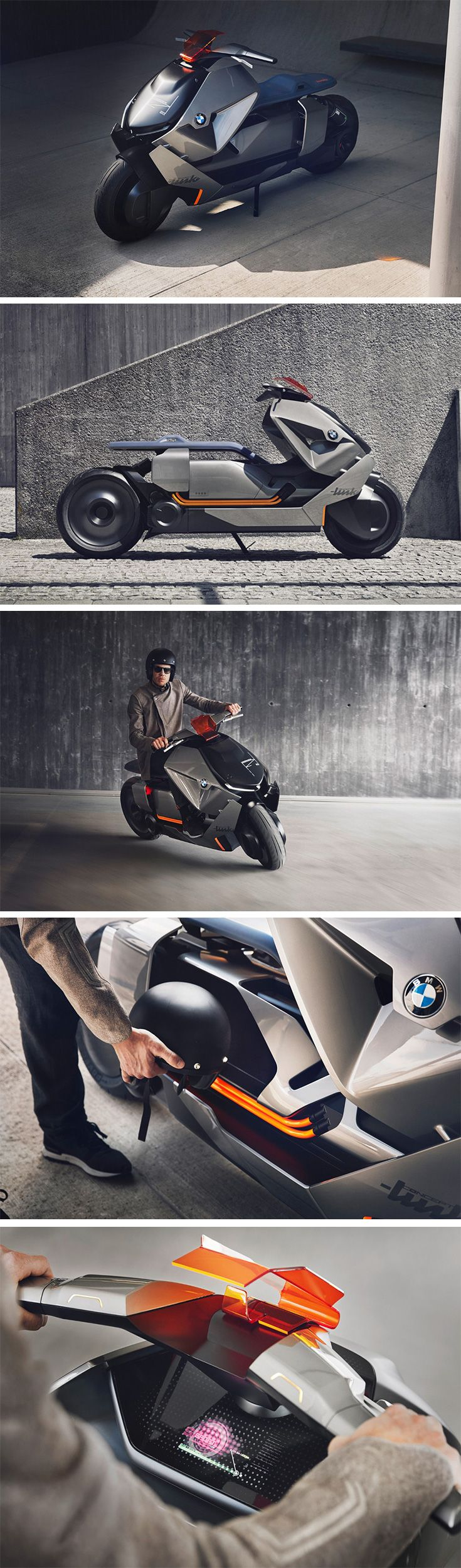 The BMW Motorrad Concept Link is envisioned to be a fully electric, zero-emissions ride and even features a reverse gear! The design by far is the most interesting. The e-scooter is broad, dominating, low-slung, and you immediately notice the majority of horizontal straight lines making it feel like the scooter is zipping forward. Looking like it was picked right out of a transportation designer's sketchbook, the scooter's aesthetic and silhouette are immediately striking and novel.