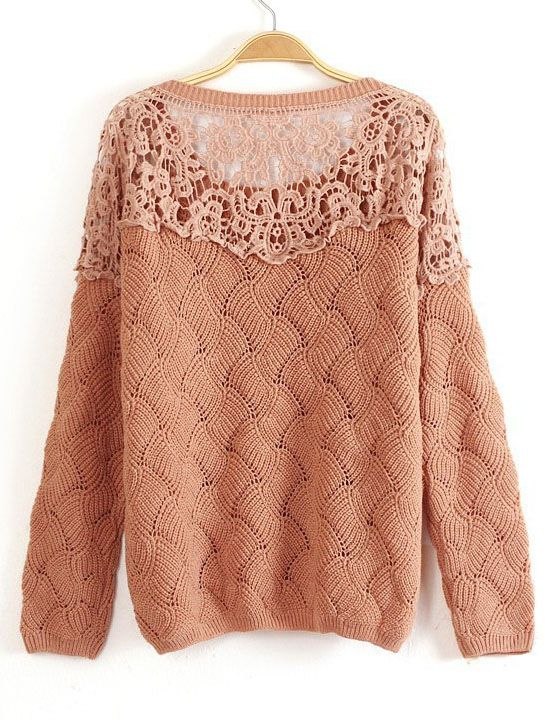 Khaki Long Sleeve Contrast Lace Hollow Sweater - Sheinside.com