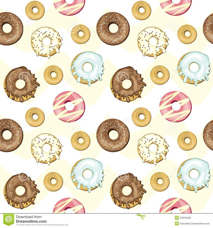 пончики вектор | Seamless donuts background, vector illustrated.