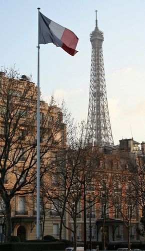 Bandera de Francia con la torre eiffel de fondo, parisbeautiful: France (by theosgift on Flickr)