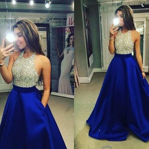 Halter Backless Evening Prom Dresses, Sexy Navy Prom Dress, Long Prom – SposaDesses