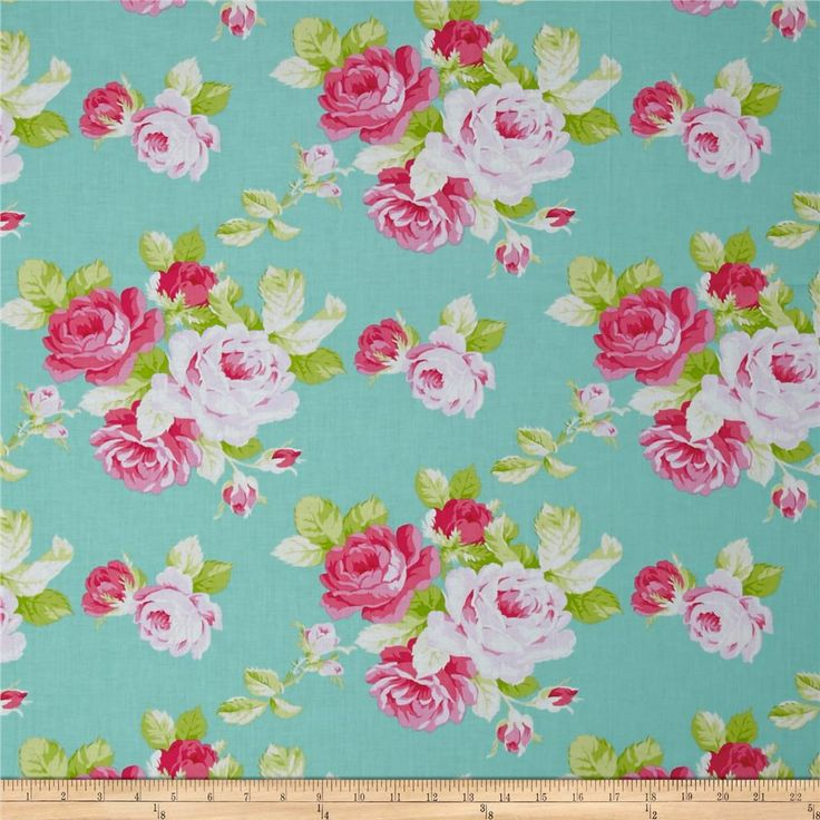 Tanya Whelan Sadie's Dance Card Big Rose Jade from @fabricdotcom  Designed by Tanya Whelan for Free Spirit Fabrics, this cotton print collection features sweet, retro florals, polka dots, and stripes. Perfect for quilting, apparel, and home decor accents. Colors include minty aqua, shades of pink, shades of green, and white.