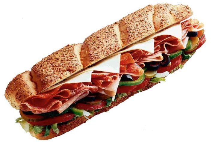 Subway Sandwich.. yummy.. six inch on white, toasted with ham, bacon, American and mayo. guilty pleasureee