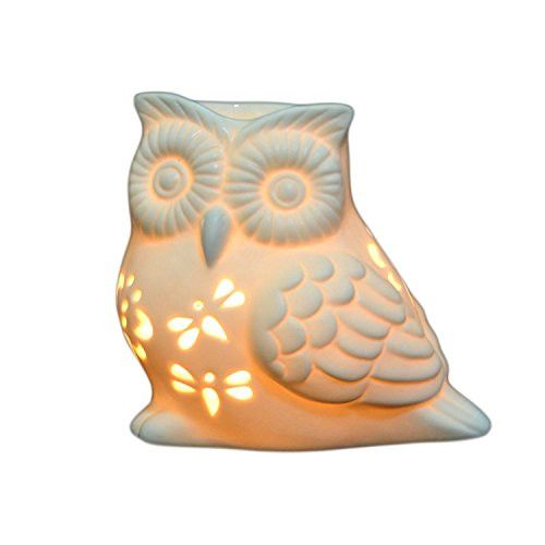 Ivenf Owl Shape Ceramic Tea Light Holder/Wax Melt Warmer, Aromatherapy Essential Oil Burner