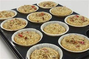 Muffins m. rabarber, kokos og pekannødder 4