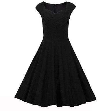 De+las+mujeres+Línea+A+Vestido+Vintage+/+Fiesta+Un+Color+Hasta+la+Rodilla+Escote+Corazón+Algodón+/+Licra+–+MXN+$+285.92