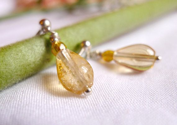 Natural citrine earrings with czech beads and 925 Sterling Silver *Free Worldwide Shipping*