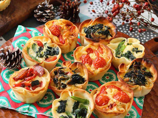 餃子の皮でクリスマスカラーのミニキッシュの画像