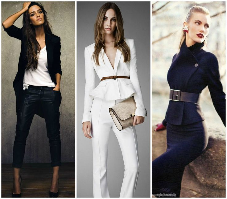 Perfect outfits for hourglass figure. Black longer blazer, white blazer with brawn belt and short black fitted coat. Learn how to dress your hourglass shape better >>> http://justbestylish.com/how-to-dress-the-hourglass-figure/2/