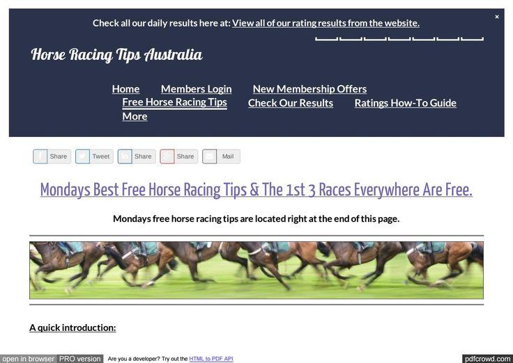 Mondays January 23rd Free Horse Racing Tips Information