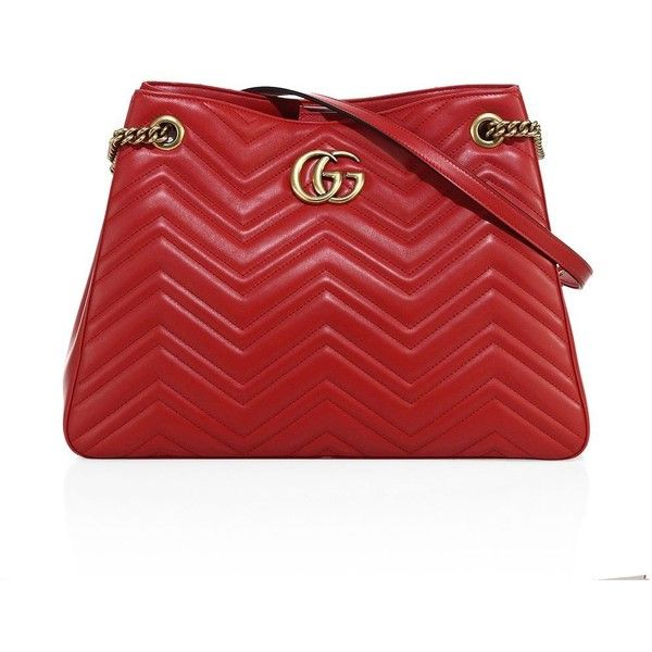 Gucci GG Marmont Matelassé Leather Shoulder Bag ($2,450) ❤ liked on Polyvore featuring bags, handbags, shoulder bags, gucci handbags, red leather purse, leather man bags, red hand bags and gucci shoulder bag