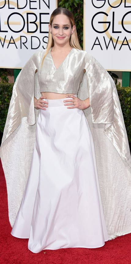 Golden Globes 2015: Jemima Kirke in a caped crop top and long skirt.