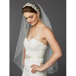 Bridal Veil Ivory with Silver Lace and Bugle Beaded Edge