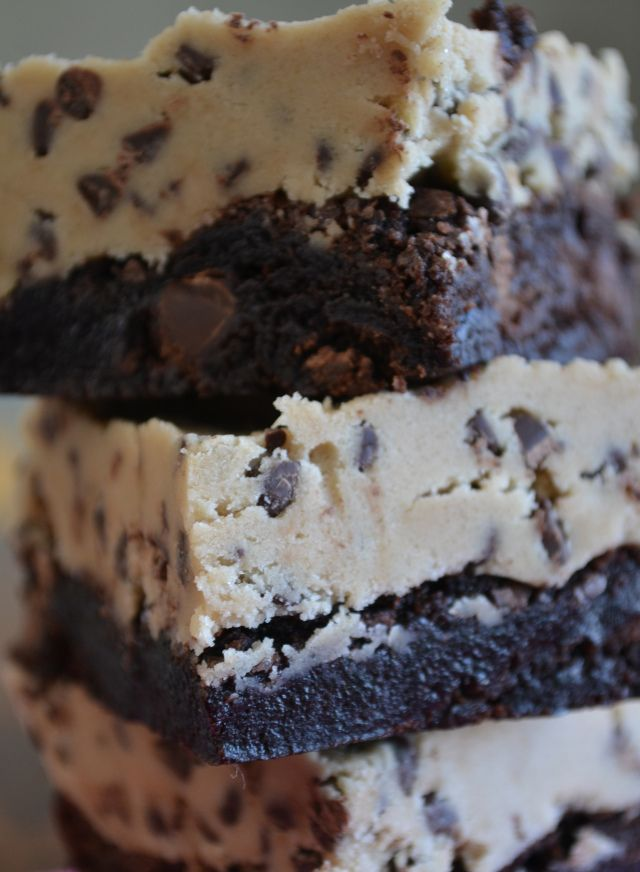 Cookie Dough Brownies = brownie mix with a layer of eggless cookie ...