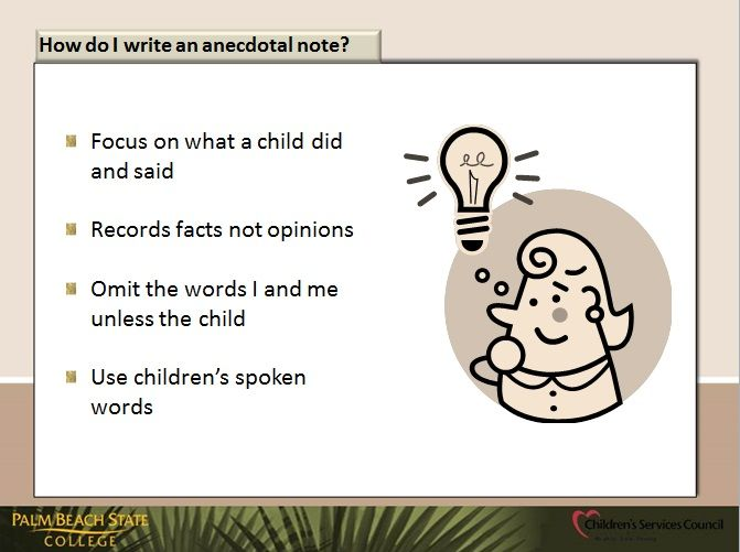 how to write observation in childcare anecdotown record