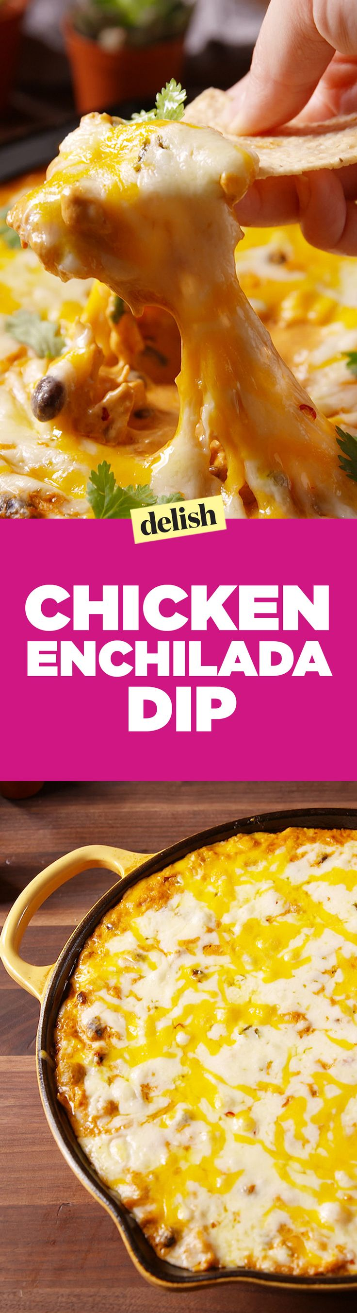 Chicken enchilada dip puts chips and salsa to shame. Get the recipe on Delish.com.