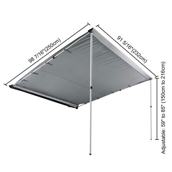 Thelashop 7 8 X 8 2 Car Side Retractable Awning Rooftop Shade Beige Gray Tent Retractable Awning Roof Rack Tent