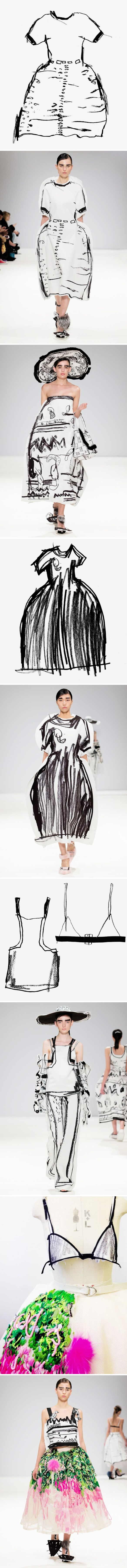 Fall/Winter collection of UK based designer Edda Gimnes.   Quick marker drawings that popped magically out of her sketchbook and onto the runways of London in the form of shoes, dresses, bras… so creative, so hilarious, so fantastic!