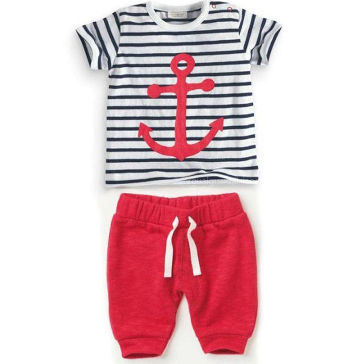Дешевое Стильные детские мальчиков устанавливает полосатый футболки топы + красные штаны 2 шт. наряды малышей костюмы одежда 0 3Y, Купить Качество Комплекты одежды непосредственно из китайских фирмах-поставщиках:    Детские Мальчики костюм в полоску футболка вершины + redpants 2 шт. наряды, костюмы 0-3Y Состояние: 100% новое и высо