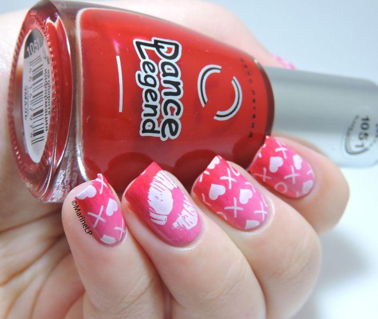 Nailstorming - Saint Valentin et Joyeux anniversaire Tequi ! - Valentine's Day nails -Gossip Girl nails - gradient - stamping - xoxo