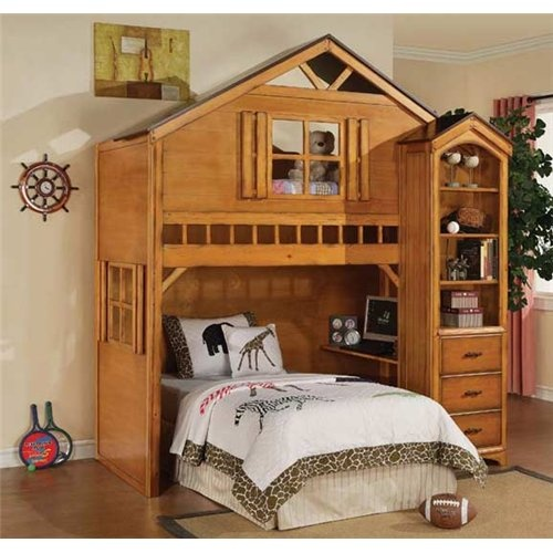 well how stinkin' cute is this?: Kids Loft, Bunk Beds, Kids Room, Book Shelves, Trees House, Rustic Oak, Boys Room, Beds Sets, Loft Beds