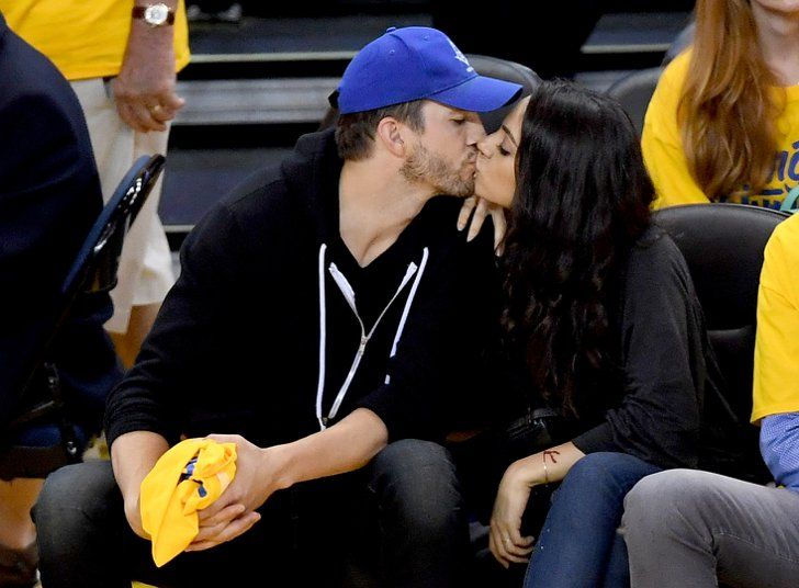 Pin for Later: Mila Kunis and Ashton Kutcher Lock Lips in a Kiss-Cam-Worthy Moment at the NBA Finals