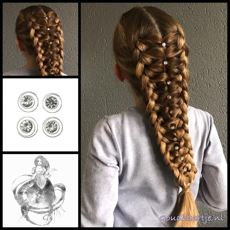 Two dutch braids with a elastic braid in the middle and beautiful curlies from the webshop www.goudhaartje.nl (worldwide shipping).   Hairstyle inspired by: @little_princess_hairstyle (instagram)   #hair #hairstyle #braid #braids #hairstylesforgirls #plait #trenza #peinando #прическа #pricheska #ヘアスタイル  #髮型 #suomiletit #zöpfe #frisuren #fläta #fletning #beautifulhair #gorgeoushair #elasticbraid #hairaccessories #hairinspo #braidideas #goudhaartje