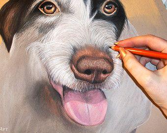 AANGEPASTE hond tekening van uw foto - 11 x 14 - realistische Hand getrokken kunst - kleur staand, pastels - Canine, Puppy, huisdier portret schilderij