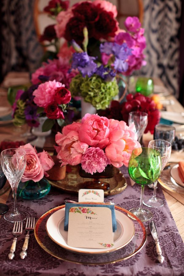 gorgeous florals + colored glasses + patterned linens