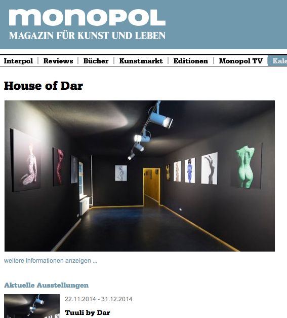 Monopol featuring tuuli by dar exhibition in the house of dar berlin