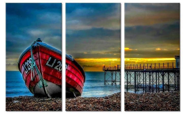 Drieluik canvas schilderij Boot op het Strand