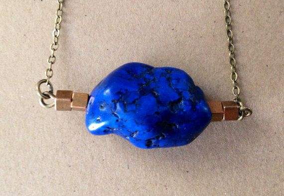 Blue Magnesite and Vintage Raw Brass Necklace by sarahrodger, on easy.com