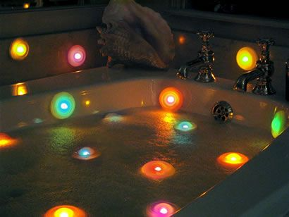 bath lights, bath time fun for kids... Heck! It's been years since I took a bath (I'm a shower kinda girl) but these make me want to draw a hot bath and sink in with some good music and a wine...