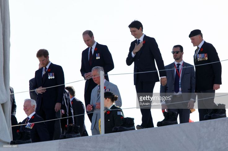 French President Francois Hollande, Canada Governor General David Johnston, Prince Charles, Prince of Wales, Prince Harry, Prince William, Duke of Cambridge and Canada Prime Minister Justin Trudeau arrive for the official ceremony for the Commemoration of the 100th Anniversary of Vimy Battle on April 9, 2017 in Vimy, France.