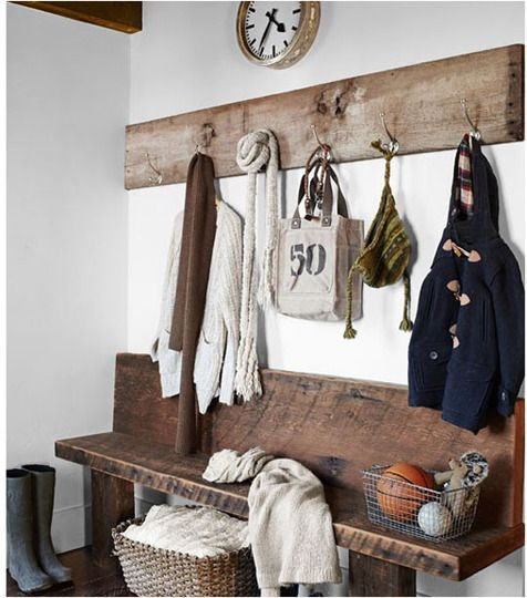 Now just gotta get the reclaimed wood!: Coats Hooks, Entry Way, Idea, Coats Racks, Wood Benches, Mudrooms, Mud Rooms, Entryway, Barns Wood